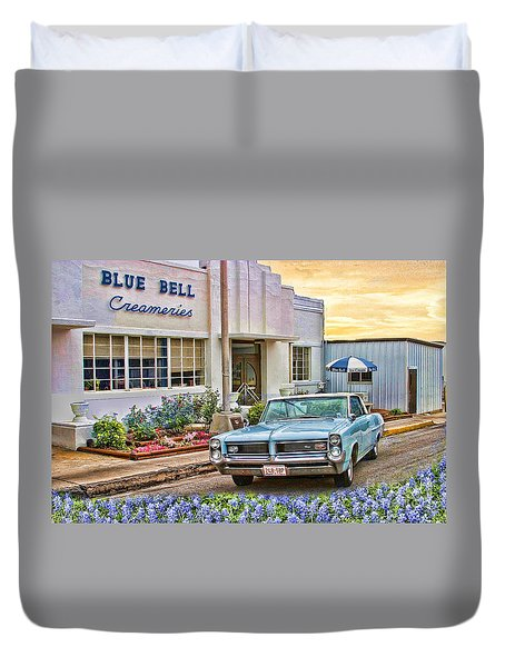 Blue Bell, Bluebonnets, And My Grand Prix Duvet Cover