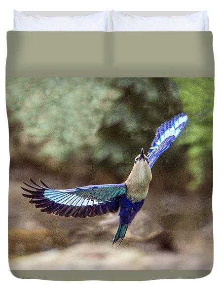 Blue-bellied Roller In Flight Duvet Cover