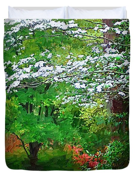 Duvet Cover featuring the photograph Blue Bench In Park by Donna Bentley