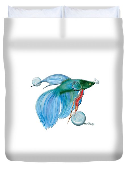 Blue Beta Fish Duvet Cover