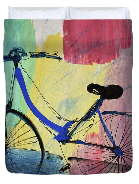 Blue Bicycle Duvet Cover by Amara Dacer