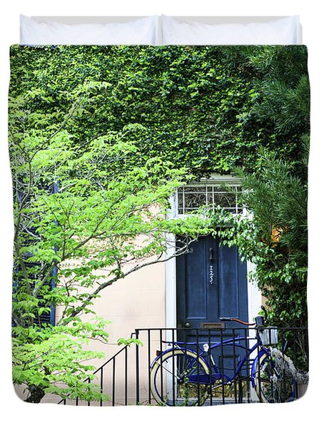 Blue Bike And Door Duvet Cover
