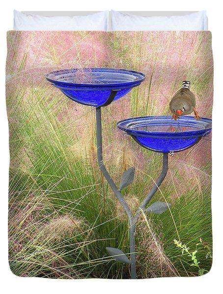 Blue Bird Bath Duvet Cover by Rosalie Scanlon