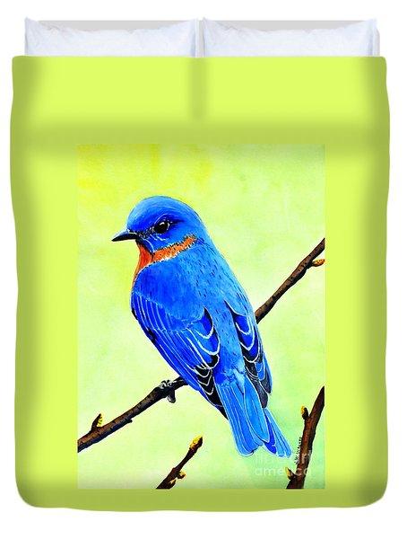 Blue Bird King Duvet Cover