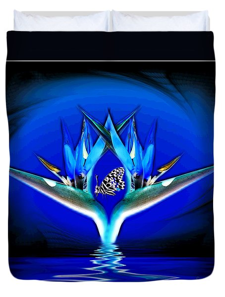 Duvet Cover featuring the photograph Blue Bird Of Paradise by Joyce Dickens
