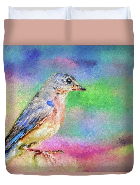 Blue Bird On Color Duvet Cover