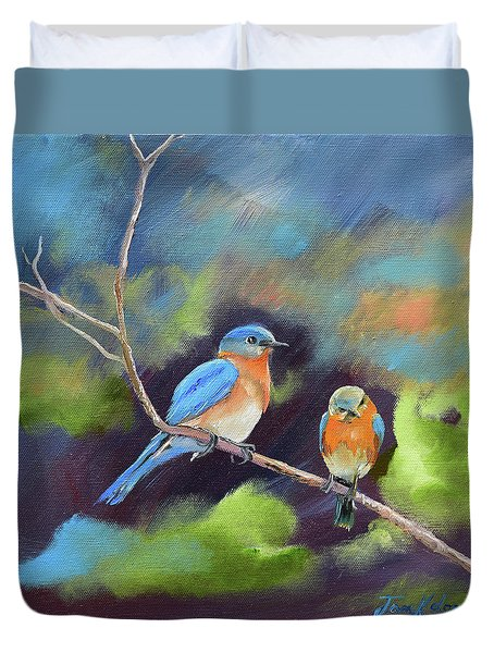 Duvet Cover featuring the painting Blue Birds - Soul Mates by Jan Dappen