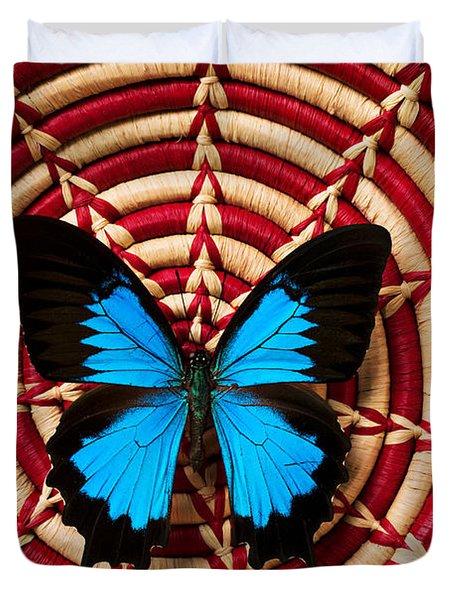 Blue Black Butterfly In Basket Duvet Cover