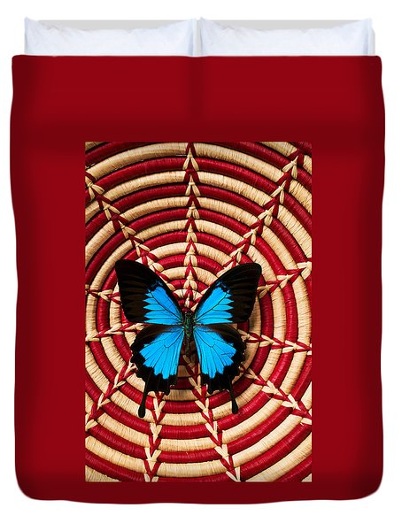 Blue Black Butterfly In Basket Duvet Cover by Garry Gay