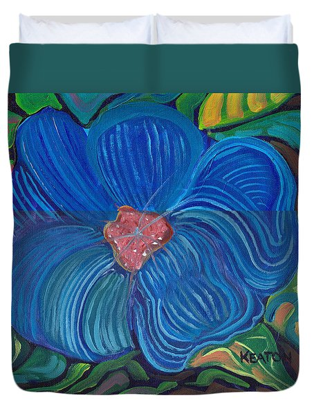 Duvet Cover featuring the painting Blue Blilliance by John Keaton