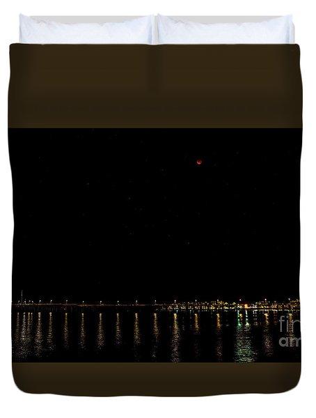 Blue Blood Moon 2018 Ventura, California Pier Duvet Cover