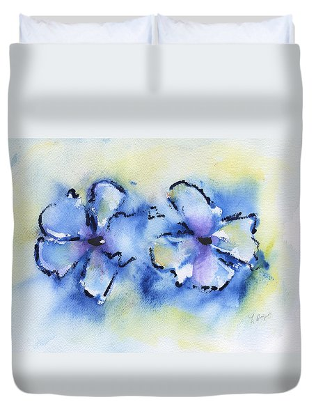 Duvet Cover featuring the painting Blue Blooms by Frank Bright