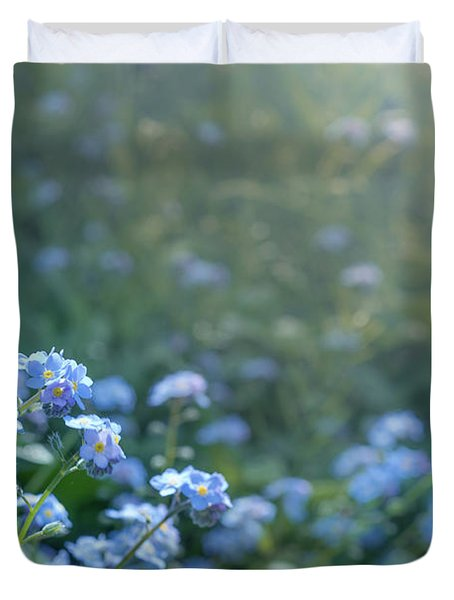 Duvet Cover featuring the photograph Blue Blooms by Gene Garnace