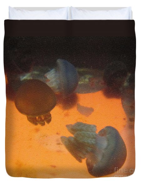 Duvet Cover featuring the photograph Blue Blubber Jellyfish by Kathie Chicoine
