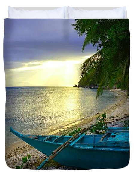 Blue Boat And Sunset On Beach Duvet Cover