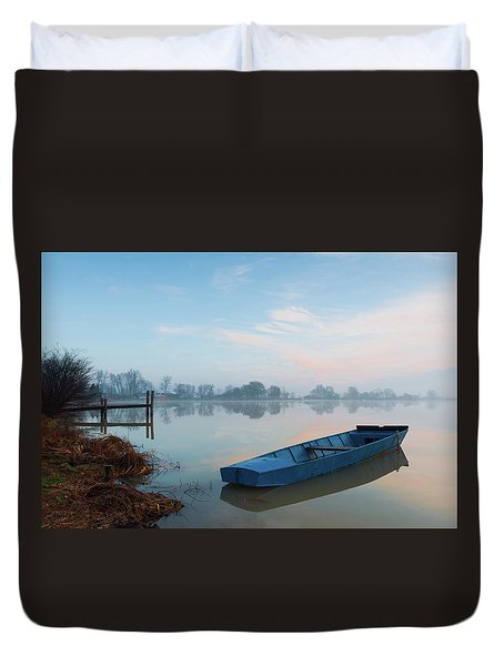 Duvet Cover featuring the photograph Blue Boat by Davor Zerjav