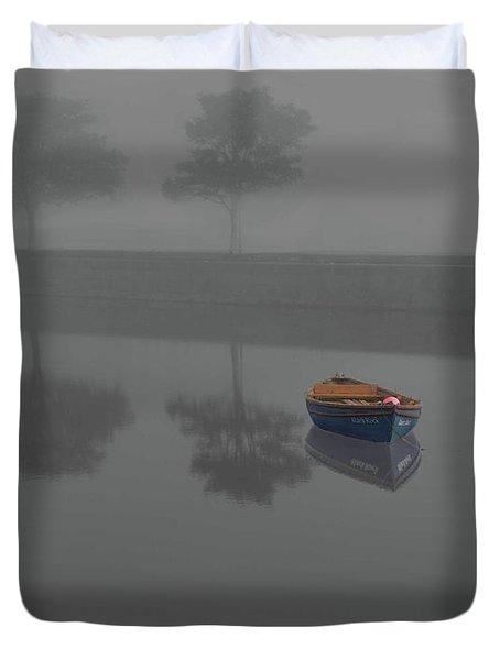 Blue Boat In Fog Duvet Cover