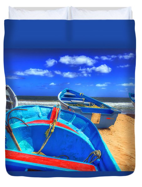 Blue Boats Duvet Cover