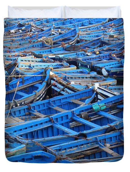 Duvet Cover featuring the photograph Blue Boats Of Essaouira by Ramona Johnston
