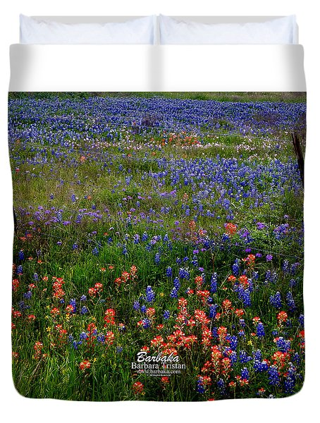 Duvet Cover featuring the photograph Bluebonnets #0487 by Barbara Tristan
