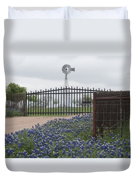 Blue Bonnets By Gate Duvet Cover