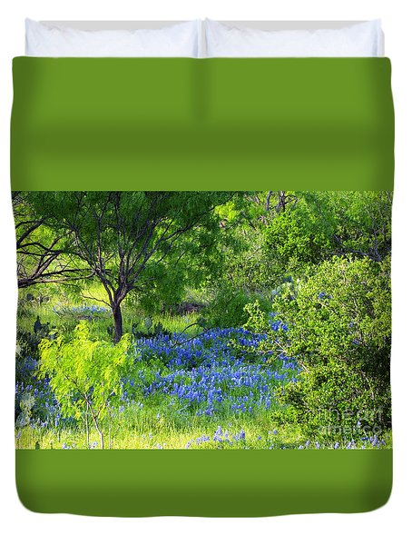 Blue Bonnets In The Country Duvet Cover