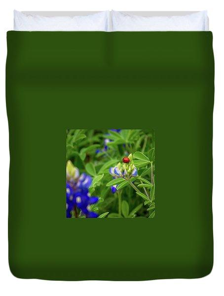 Texas Blue Bonnet And Ladybug Duvet Cover