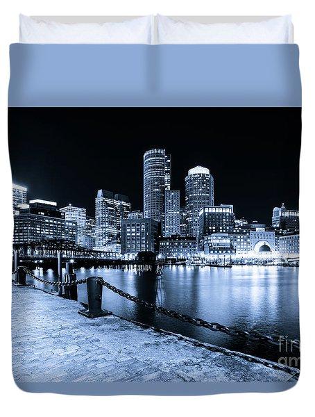 Blue Boston Skyline At Night And Harborwalk Photo Duvet Cover