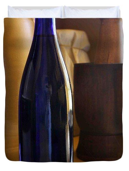 Blue Bottle And Mortar Duvet Cover