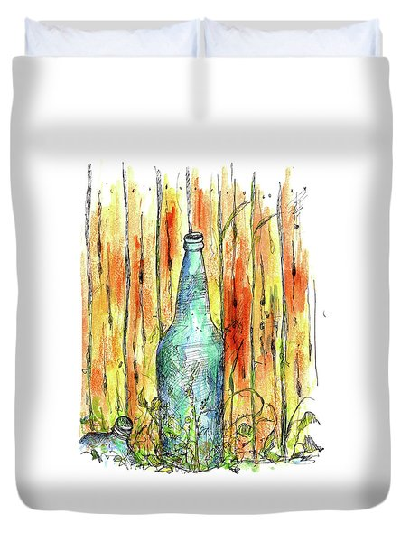 Duvet Cover featuring the painting Blue Bottle by Cathie Richardson