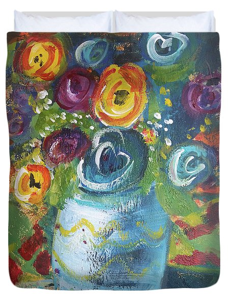 Blue Bouquet Duvet Cover