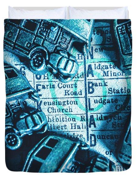 Blue Britain Bus Bill Duvet Cover