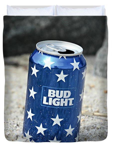 Blue Bud Light Duvet Cover