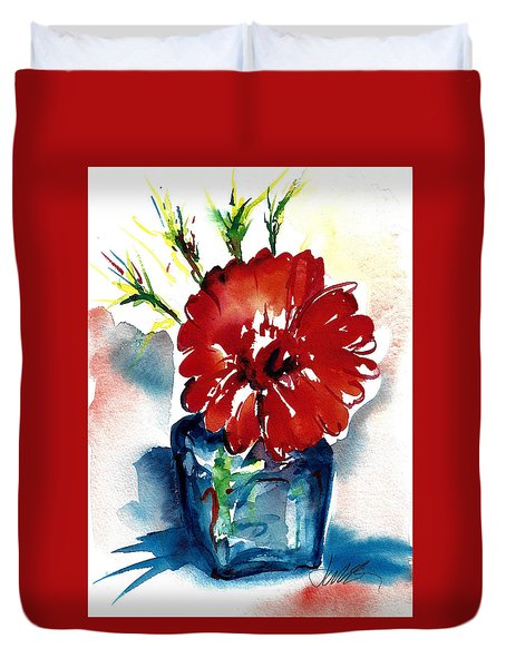 Blue Bud Vase Duvet Cover