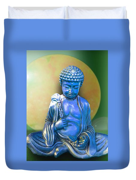 Blue Buddha Figurine Duvet Cover