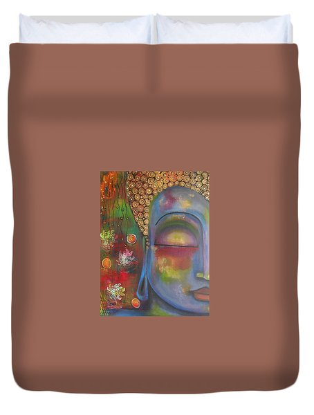 Duvet Cover featuring the painting Buddha In Blue Meditating  by Prerna Poojara