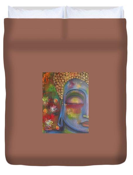 Buddha In Blue Meditating  Duvet Cover