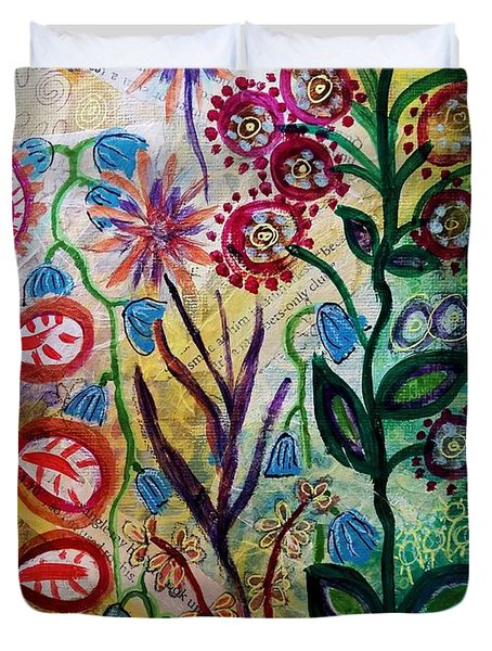 Duvet Cover featuring the mixed media Blue Bug In The Magic Garden by Mimulux patricia no No