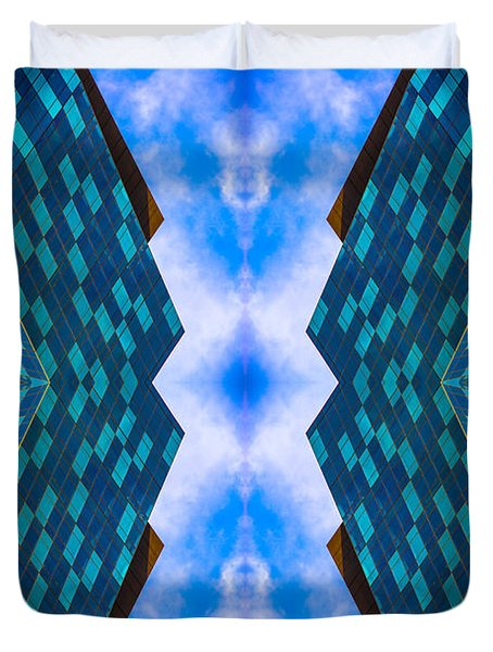 Blue Building Downtown N58v2 Duvet Cover by Raymond Kunst