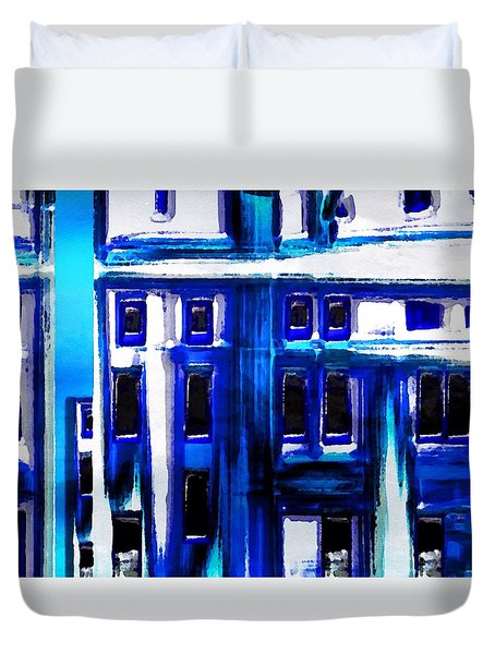 Blue Buildings Duvet Cover