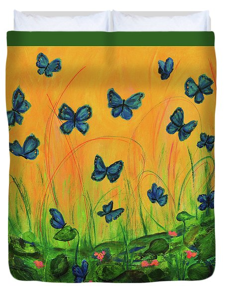 Blue Butterflies In Early Morning Garden Duvet Cover