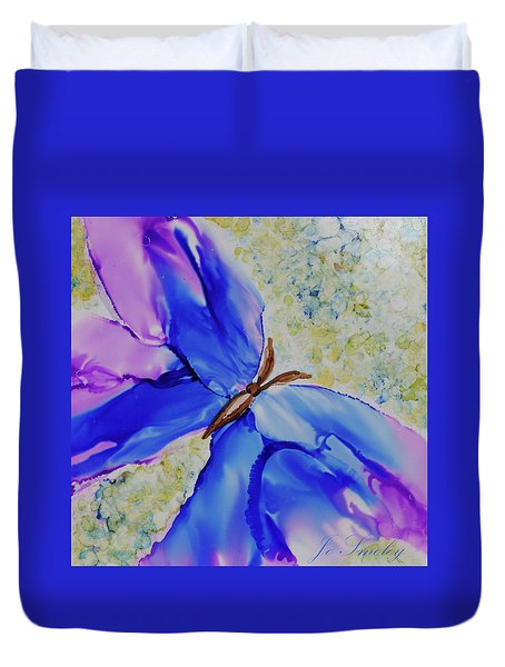 Duvet Cover featuring the painting Blue Butterfly by Joanne Smoley