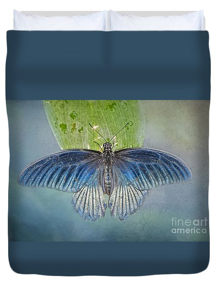 Blue Butterfly On Blue Duvet Cover by Bonnie Barry