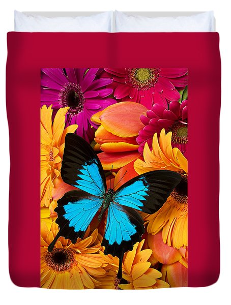 Blue Butterfly On Brightly Colored Flowers Duvet Cover by Garry Gay