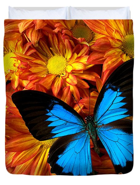 Blue Butterfly On Mums Duvet Cover