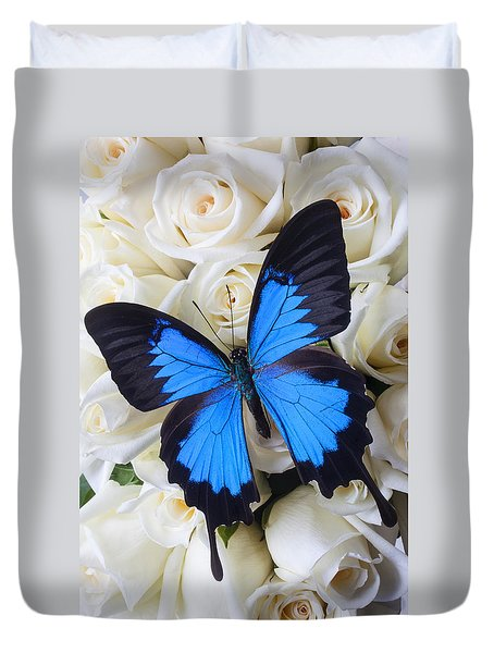 Blue Butterfly On White Roses Duvet Cover by Garry Gay