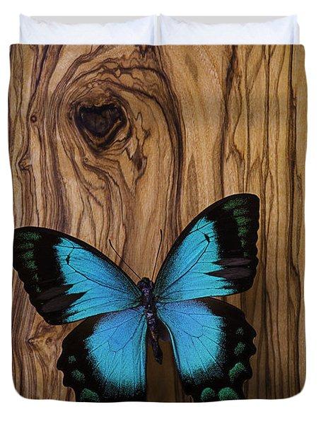 Blue Butterfly On Wood Grain Duvet Cover