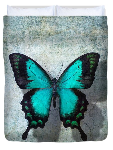 Blue Butterfly Resting Duvet Cover