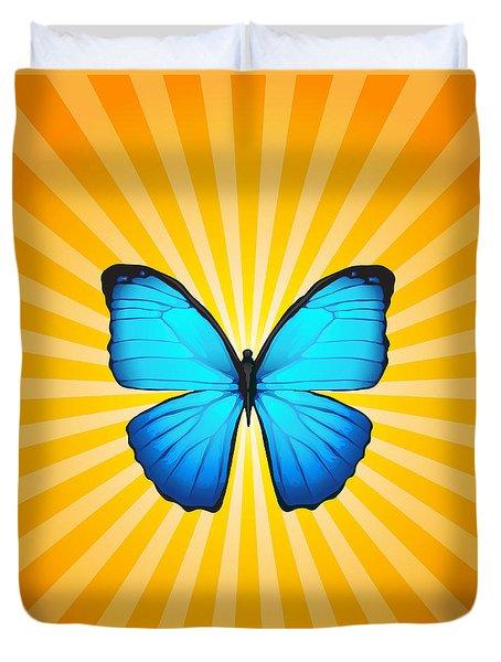 Blue Butterfly Sun Duvet Cover