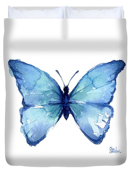 Blue Butterfly Watercolor Duvet Cover